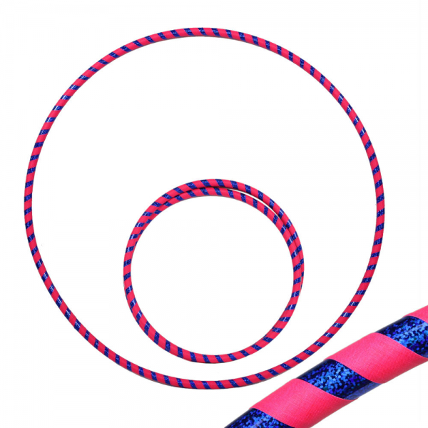 Hula Hoop, 90cm, pink (uv) / blau-glitzer