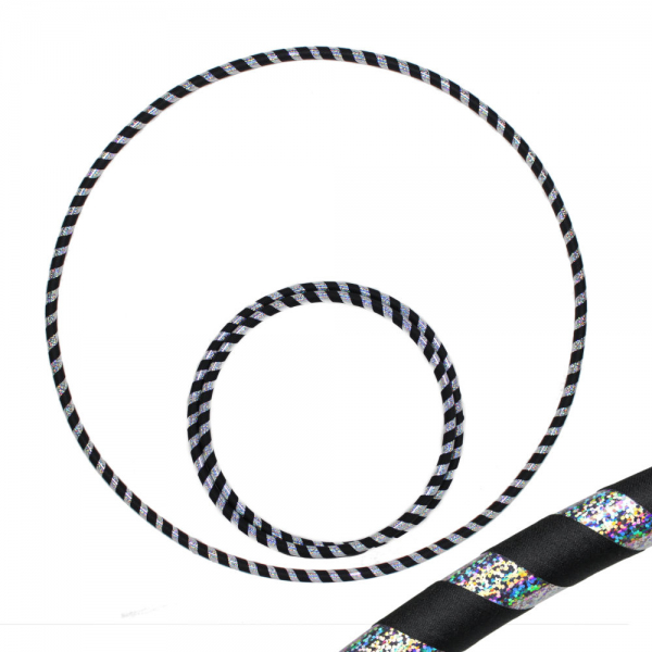 Hula Hoop, 90cm, schwarz / silber-glitzer